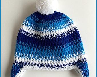 Boys blue hat,  Blue kids hat, Chunky boys hat, Kids ski beanie, Blue hat ear flaps, Winter kids beanie, Boys pom pom hat, Blue beanie hat