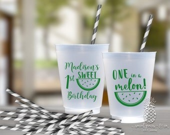 Birthday Party Cups | Personalized Frosted Cup | Monogrammed Cups | Personalized Plastic Cups | Watermelon Party Cups | social graces Co.