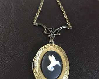 Hummingbird locket necklace, cameo necklace, hummingbird gift