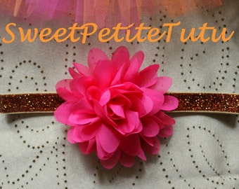 Hot Pink and orange no-shed glitter headband, Pink and orange headband, Pink and orange baby headband, Preemie headband, newborn headband
