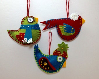 Felt Christmas Ornaments, Bird Ornaments, Handmade Christmas Ornament, Felt Bird Ornaments, Bird Christmas Ornament, Christmas Bird