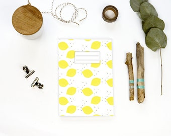 Note book 64 pages - LEMON design - stapled notebook made with recycled paper
