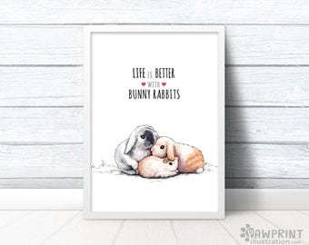 Easter gifts etsy bunny wall print life is better with bunny rabbits rabbit lover gift bunny negle Images