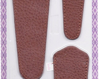 Scissors sheaths -VALUE PACK-4 sizes/pk- Designer Covers w/ScissorGripper Sewing Quilting. Top Grain Texas Tan color. S-36. Free Shipping.
