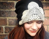 Black Cashmere Slouchy Hat / Beanie with Vintage Doily (upcycled)