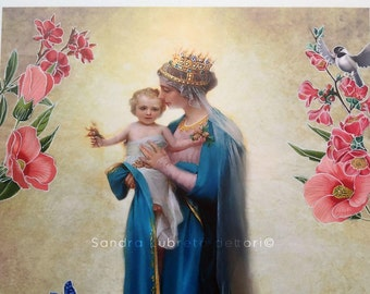 "Catholic art print, Virgin Mary with child Jesus & flower border, Virgin Mary art print, Our Lady print, 8x10"" print."