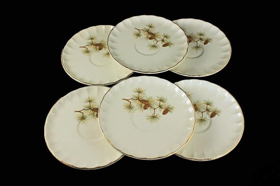 Saucers, W S George, Pinecone Pattern, White, Gold Trimmed, Pine Branch Design, Up to 6 Available