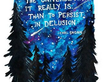 """Carl Sagan Illustrated Quote 5"""" x 7"""" Colorful Art Print"""