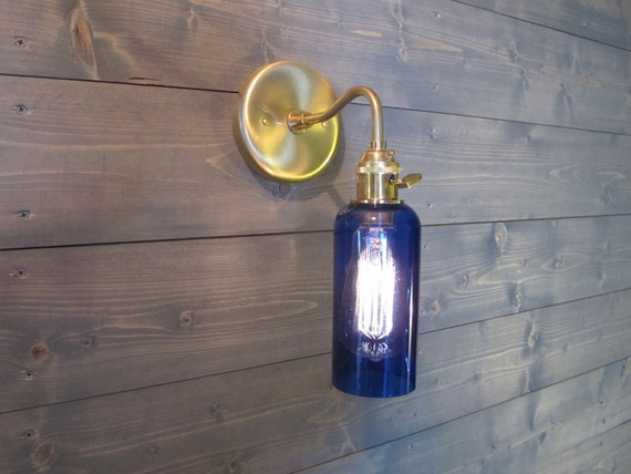 Wine Glass Wall Lights : Large Blue Wine Bottle Wall Sconce Upcycled Industrial Glass