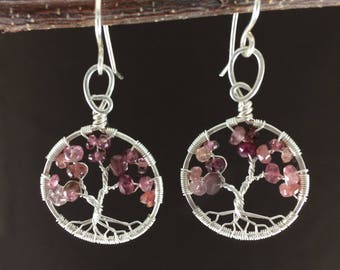 Cherry Blossom Tree-Of-Life Earrings Silver Tree of Life Wire Wrapped Pink Tourmaline October Birthstone Libra Heart Chakra 8th Anniversary