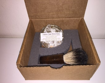 Darkwood stained shaving brush shave soap badger brush shave kit wet shaving kit wet shave shaving soap shave set handmade silve