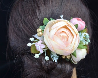 Bridal hair clip Ivory Wedding hair clip Flower hair clip Bridal hair piece Wedding headpiece Bridesmaid hair clip Pink Wedding hair flower