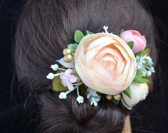 Bridal hair clip Ivory Wedding hair clip Flower hair clip Bridal hair piece Wedding headpiece Bridesmaid hair clip Pink Wedding hair flower