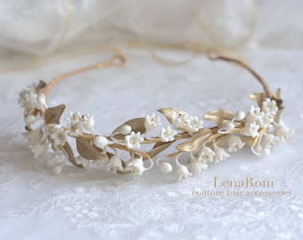 Lily of the valley headpiece. Bridal crown. Gold bridal headpiece. Bridal headpiece. Bridal wreath. Style 623