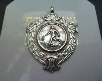 "A vintage collectable silver football medal fob/pendant - 925 - sterling silver - Full UK Hallmark - 1.5"" x 1.2"""