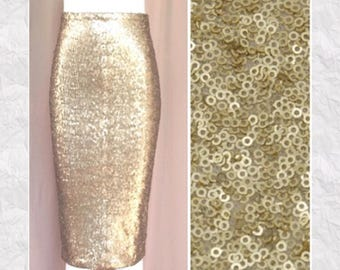 Matte Gold Sequin Pencil Skirt