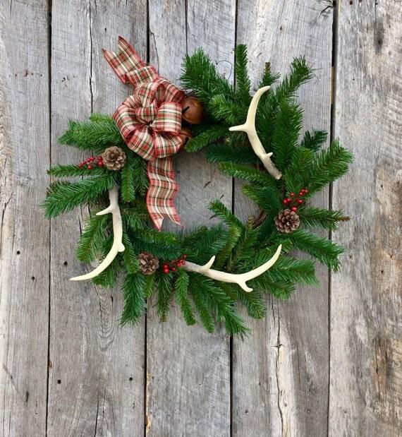 Winter wreath antler wreath rustic wreath christmas wreath for Antler christmas wreath