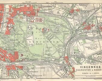 1910 Antique Map of Vincennes, Paris France