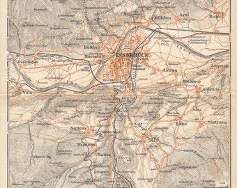1929 Innsbruck Austria Antique Map