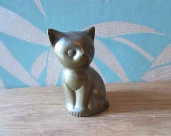 Vintage solid brass kitten