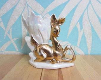 Vintage kitsch gold-finish & lustreware deer shaped vase/planter