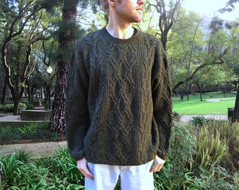 100% Wool Irish Fisherman Sweater by J. Crew - Thick Knit, Aran Style - Dark Olive Green - Cable Designs - Men's Size Extra Large (XL)