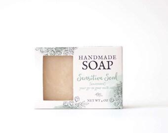 sensitive skin soap, natural soap, handmade soap, unscented soap, all natural soap, moisturizing soap,  eczema soap, baby soap, dry skin