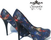 Doctor Who-Tardis Nebula- Choose Your Style- Wedding- Geek- Bride- Bridal Shoes- Prom- Graduation- Gift- Custom Shoes- Christmas- Whovian