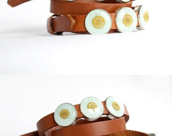 Boho bracelet mother's day gift Boho jewelry women Fashion bracelet wife Art jewelry Orange bracelet Daisy jewelry Daisy bracelet