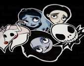 Nightmare Before Christmas and Corpe Bride Stickers