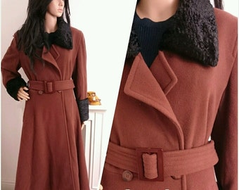 Vintage 80s Brown Fur Collar Cuffs Belted Long Fit Flare Wool Coat 40s / UK 10 12 / EU 38 40 / US 6 8