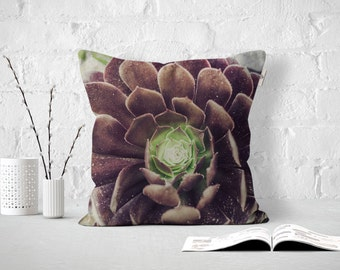 Succulent in Burgundy, Outdoor or Indoor Pillow Cover