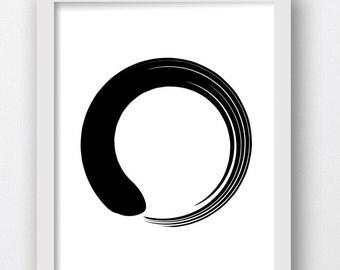 Zen, Zen Art, Zen Wall Print, Circle Prints, Black and White Circle Print, Minimalist Circle, Circle Art Prints, Zen Wall Art, Circle Print