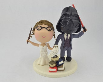 Sith wedding and witch wedding. Harry Potter/Star Wars cake topper. Couple holding hands.  Handmade. Fully customizable.