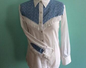 Vintage Miller White Western Cowboy Shirt With Fringe and Blue Yoke