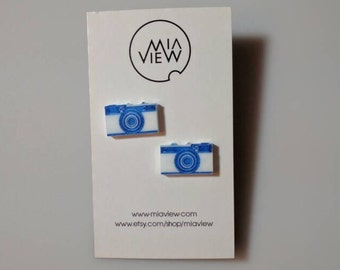 Camera Stud Earrings, Camera Jewelry, Photographer Gift, Laser Cut Gifts, Gift for Camera Lovers, Old Camera Earrings