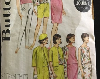 Butterick 2704 - 1960s Easy Sportswear Separates with Top, Dress, Skirt, Pants, Shorts, and Jacket - Size 12 Bust 32