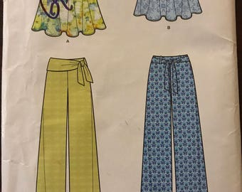 New Look A619 - Skirts and Wide Legged Pants with Self or Contrast Sash - Size 8 10 12 14 16 18