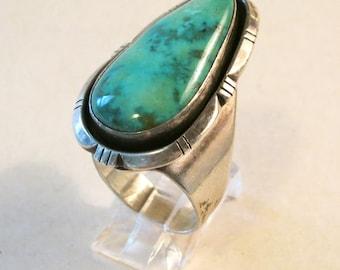 Navajo Teardrop Turquoise & Sterling Silver Shadowbox Ring
