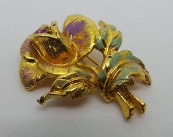 Vintage brooch - Golden rose brooch