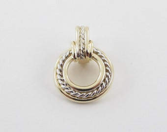 14k Yellow Gold Rope Slide Pendant With White Gold Rope Accent