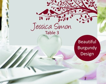 Burgundy Wedding place cards template, flat escord carts, Place cards printable with two loving birds on a tree, Instant Download, Editable