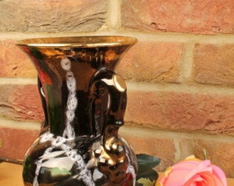 German 2 Handed Pottery Vase in Black and Gold