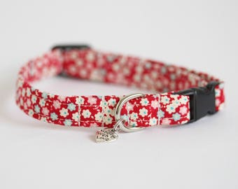 Sally - Red Floral Tilda Small Dog or Puppy Collar, Made To Measure