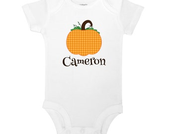 Personalized Name Fall Halloween Pumpkin Baby One Piece