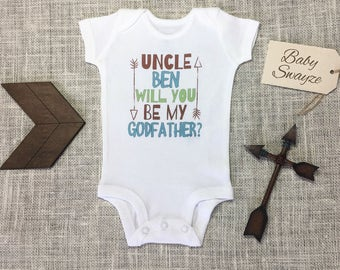 Personalized Name Uncle Will You Be My Godfather Cute Baby One Piece Toddler T-shirt