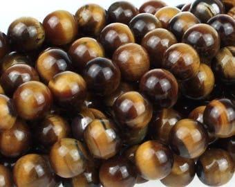 Genuine Tiger Eye Beads, Round Brown Tiger Eye Beads, Natural Gemstone Beads, Gemstone Mala Beads, Beads For Malas, 8mm - 25 beads (ST-154)