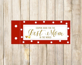 Printable Red Polka Dots MOTHERS DAY GIFT Coupons, Gift For Mom Mum, Mother's Day Coupon Book, Gift For Her, Digital Instant Download