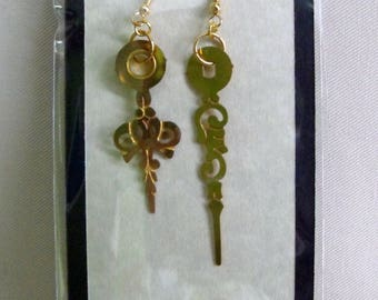 Upcycled Clock Hand Earrings (Brass / Gold)