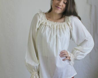 70s Cream Peasant Blouse // Vintage Peasant Sleeve Lace Long Sleeve Shirt Top // Size: M